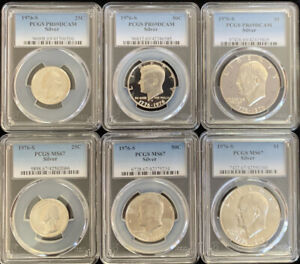 1976 S Silver $1 50c 25c PCGS MS67 & PR69DCAM 6 Coin Set  ITEM # 5