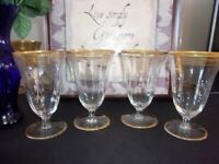"Barware Wine Glasses 4 Amber Rim Tall Amber Stripes 8.oz 5-3/4"" T - 12 AVAILABLE"
