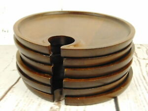 Set of 6 Round 8 Inch Wood Hors D'oeuvres Party Plates & Wine Glass Holders