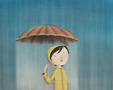 8x10 archival PRINT - April Rain - girl, bird, robin, umbrella, raincoat, child