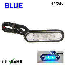 BLUE HELLA STYLE LED FLUSH FIT KELSA BAR MARKER LAMP LIGHT 12v 24v