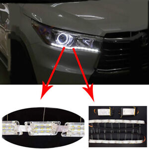 2PCS 12V Dual Tearful Eyes LED Light Turn Signals Daytime Running Lights Pretty
