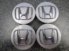 Set of (4)  Rare OEM Honda Center Caps  Silver With Chrome Logo  #44742-