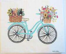 Alice's Cottage Cotton Flour Sack Kitchen Tea Towel Spring Bike - NEW