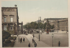 EARLY COLOR PHOTOCHROME OF BUSY STREET SCENE, CARRIAGES, PEOPLE -BERLIN, GERMANY