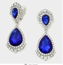 "2.75"" Long Big Rhinestone Royal Blue Pageant Wedding Crystal Earrings CLIP ON"