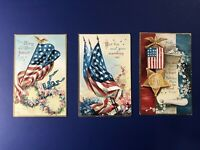 3 Patriotic Antique Postcards. E. Clapsaddle 1908. Collector Items. Nice w Value