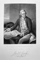 EXPLORER CAPTAIN JAMES COOK HAWAII AUSTRALIA, Old 1830 Art Print Engraving RARE!