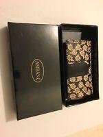 LADIES LEATHER WALLET AMBANC BRAND 28 CARDS EXECUTIVE (BLACK FLOWER ) AW-07