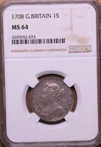 1708 Shilling NGC MS64 Queen Anne