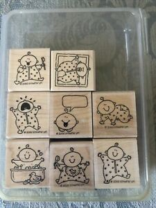 Stampin' Up! Vintage BABY FIRSTS, Set of 8 Wood Mounted, NEW