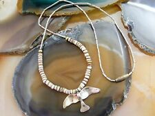 Navajo Liquid Sterling Silver Seagull Bird Brown Shell Heishi NECKLACE