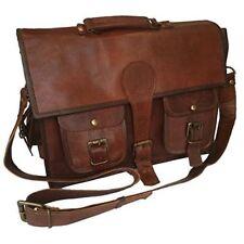 Messenger bag leather women;s men's shoulder laptop briefcase satchel brown bag