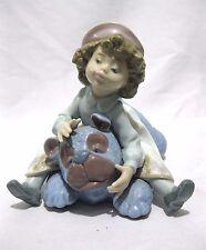 Retired LLADRO Giddy Up Girl Riding Stuffed Teddy Bear blue # 5664 Figurine