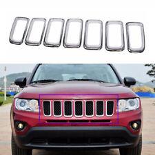 7pcs ABS Chrome Front Grille Vent Hole Trim Frame fit for Jeep Compass 2011-2016