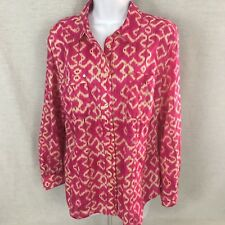 Michael Kors Womens Button Front Top Pink Size Large