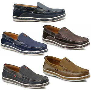 New Mens Slip On Boat Shoes Driving Moccasins Slip On Loafers  Tan Navy Brown