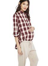 Hatch Maternity Women's THE FLANNEL Bordeaux Button Down Shirt Size 2 (M/8-10)