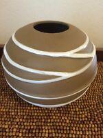 "Stoneware Pottery Brown Tan Embossed White Stripe Round VASE 5"" tall"