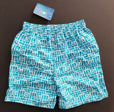 BNWT Boys Sz 7 Smart Wave Tribe Teal White Tie Waist Swim Board Shorts