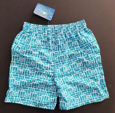 BNWT Boys Sz 4 Smart Wave Tribe Teal White Tie Waist Swim Board Shorts