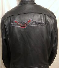Harley Davidson V Leather Lined Shoulder Elbow Pads Riding Jacket Sz XL Biker