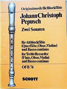 J. Chr. Pepusch, 2 Sonaten für Altblockflöte und Basso continuo