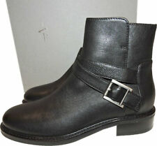 Aquatalia Bree Boot Black Leather Buckles Booties Flat Ankle Boots 6.5