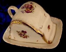 RARE GERMAN ANTIQUE LARGE CHEESE KEEPER DISH PORCELAIN DOME LID PANSY FLOWERS
