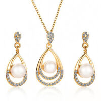 Crystal Pearl Drop Pendant Earring Necklace Set Rhinestone Wedding Jewelry D