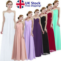 UK_ Women's Chiffon Formal wedding Bridesmaid Dress Long Evening Party Prom Gown