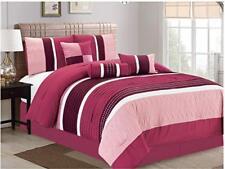 Dcp 7Pcs Collection Bed in Bag Stripe Microfiber Comforter Set King RosePink