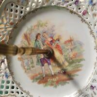 "Vintage CICO German Bavaria Lattice Reticulated Portrait Set of ""Two Plates"""