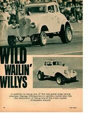 1933 WILLYS A/GAS DRAG RACE - GEORGE MONTGOMERY ~ ORIG 4-PAGE 1965 ARTICLE / AD