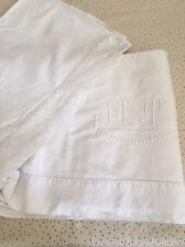 Drap Ancien En Lin Et Coton Linge Blanc De Maison Lit Brodé Monogramme M T