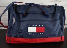 VTG TOMMY HILFIGER Classic Logo SPELL OUT PVC Duffel Bag Gym Bag Flag Travel