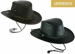 AUSTRALIAN LEATHER BUSH HATCOWBOY WESTERN AUSSIE OUTBACK HAT BROWN BLACK HAT