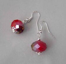 boucles d'oreille perle en verre cristal ROUGE CERISE argent 925 earrings