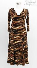 EVA VARRO Designer Dress Size Large L 12 Black Brown Career Formal Bodycon TDH