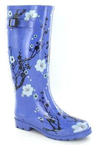 Ladies Purple Patterned Rubber Wellies. X1073
