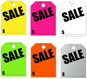 50 Pack Jumbo Car Dealer Sale Mirror Hang Tags You Choose Color