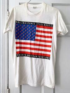 VINTAGE 1989 ROLLING STONES STEEL WHEELS NORTH AMERICAN TOUR T-SHIRT UNUSED