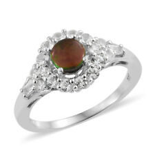 Canadian Ammolite, White Topaz Platinum Over Sterling Silver Ring Size 10