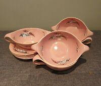 Vintage 1950's Old Foley Oregon Pine Pattern Soup Cups and Saucers (Set of Five)
