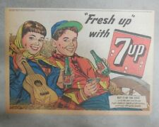 7-Up Ad: Fresh Up With Seven-Up! Making Music ! from 1950's  7 x 10 inches