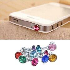 2 x Bling Diamond Mixed Crystal 3.5mm Earphone Jack Cap Z7U6 J Stop Du Plug J6K8
