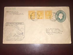 1929 Uprated Stationary, Half Booklet Pane 104a, First Maritime-air, N.B. To N.S