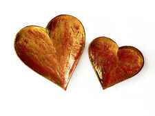 Fair Trade Heart Shaped Red Wooden Decorative Dish Set of 2