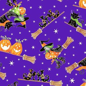 Henry Glass & Co. Here We Glow Flying Witches Purple Cotton Fabric by the Yard