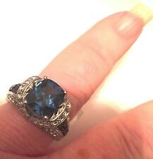 Vintage Sterling Silver ring with large London Blue Topaz Gemstone and Diamonds